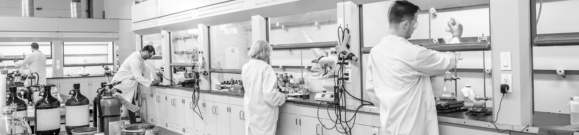 Synthesis laboratory with eight fume hoods and four chemists using equipment in the hoods.