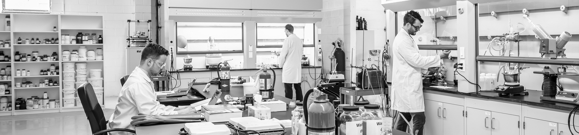Synthesis laboratory with fume hoods, equipment, and chemicals, and three chemists working at the hoods or at the bench.